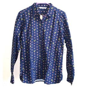 NWT Woolrich Keystone Navy Print Button Down